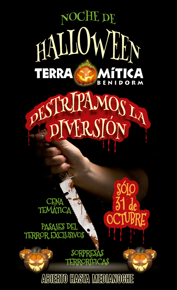 Terra Mitica Benidorm. Halloween Special.  Entrance & Halloween Themed Dinner